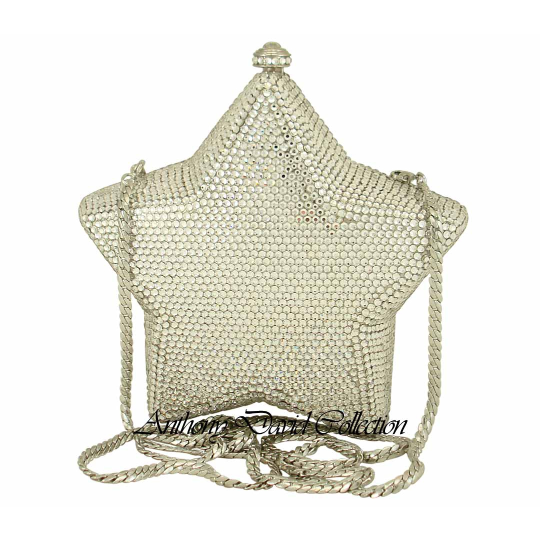 Silver Star Crystal Purse Evening Bag With Swarovski Crystals