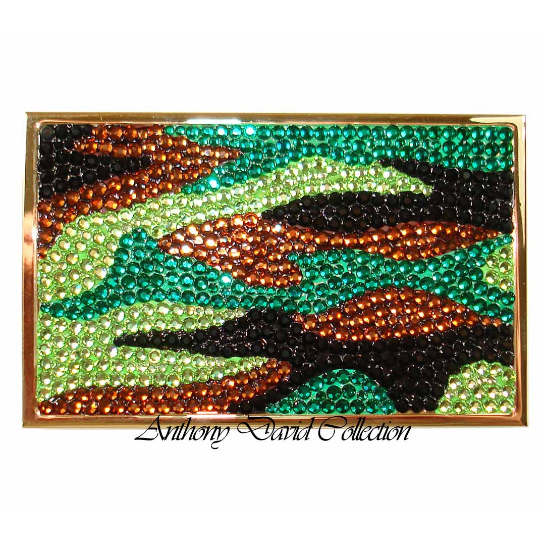 Anthony David Business Card Case with Swarovski Crystal - Camouflage