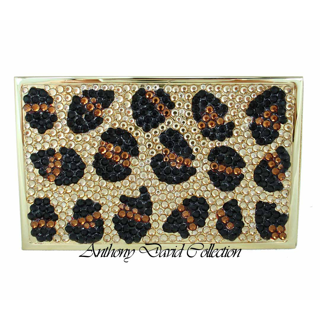Anthony David Business Card Case with Swarovski Crystal - Leopard