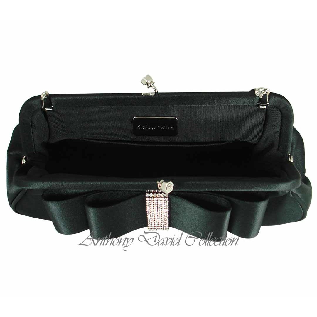 Anthony David Satin Evening Bag With Swarovski Crystal Add37 Black