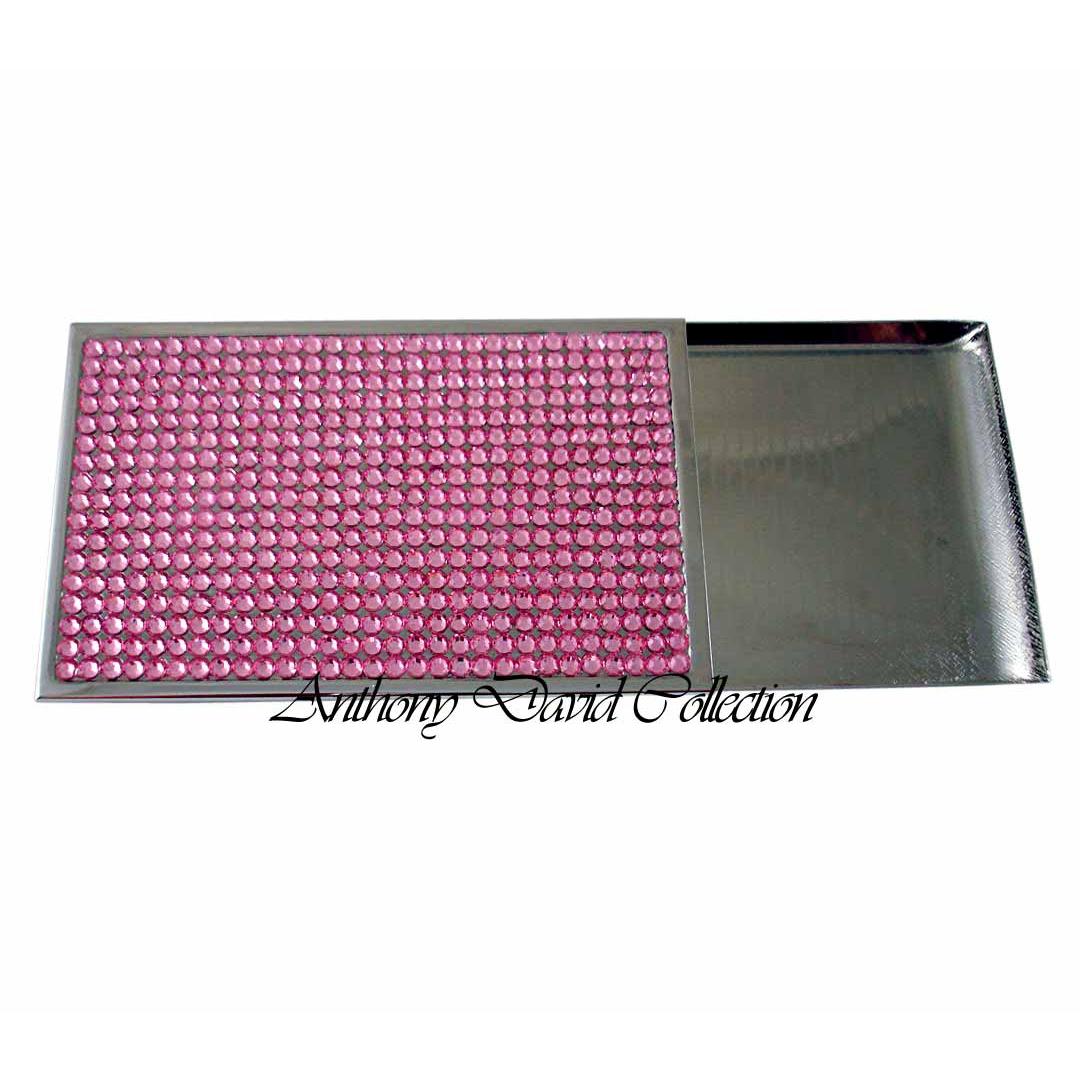 Anthony David Business Card Case with Swarovski Crystal - Pink