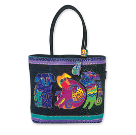 Artist Laurel Burch Fashion Beach Bag - Dog & Puppies