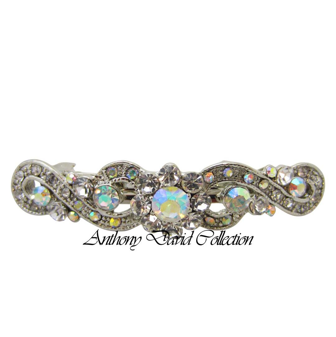 Silver Aurora Borealis Swarovski Crystal Hair Accessory