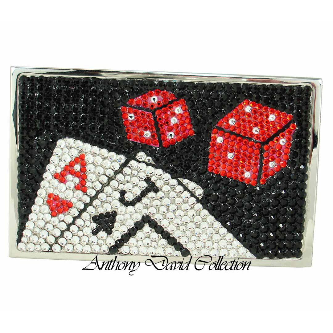 Anthony david business card case with swarovski crystal las vegas reheart Images
