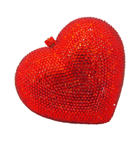 Red Heart Crystal Evening Bag Clutch Purse with Gold Metal