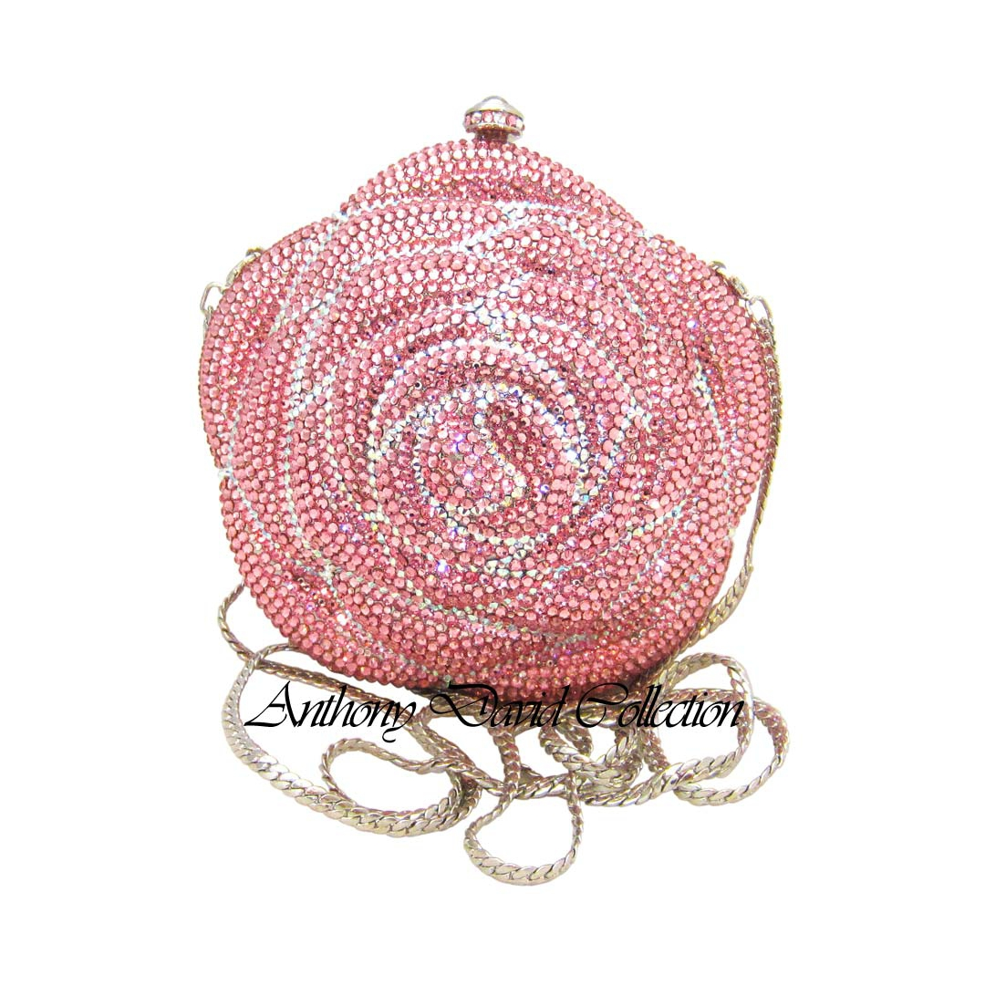Pink Rose Crystal Evening Bag With Swarovski Crystals