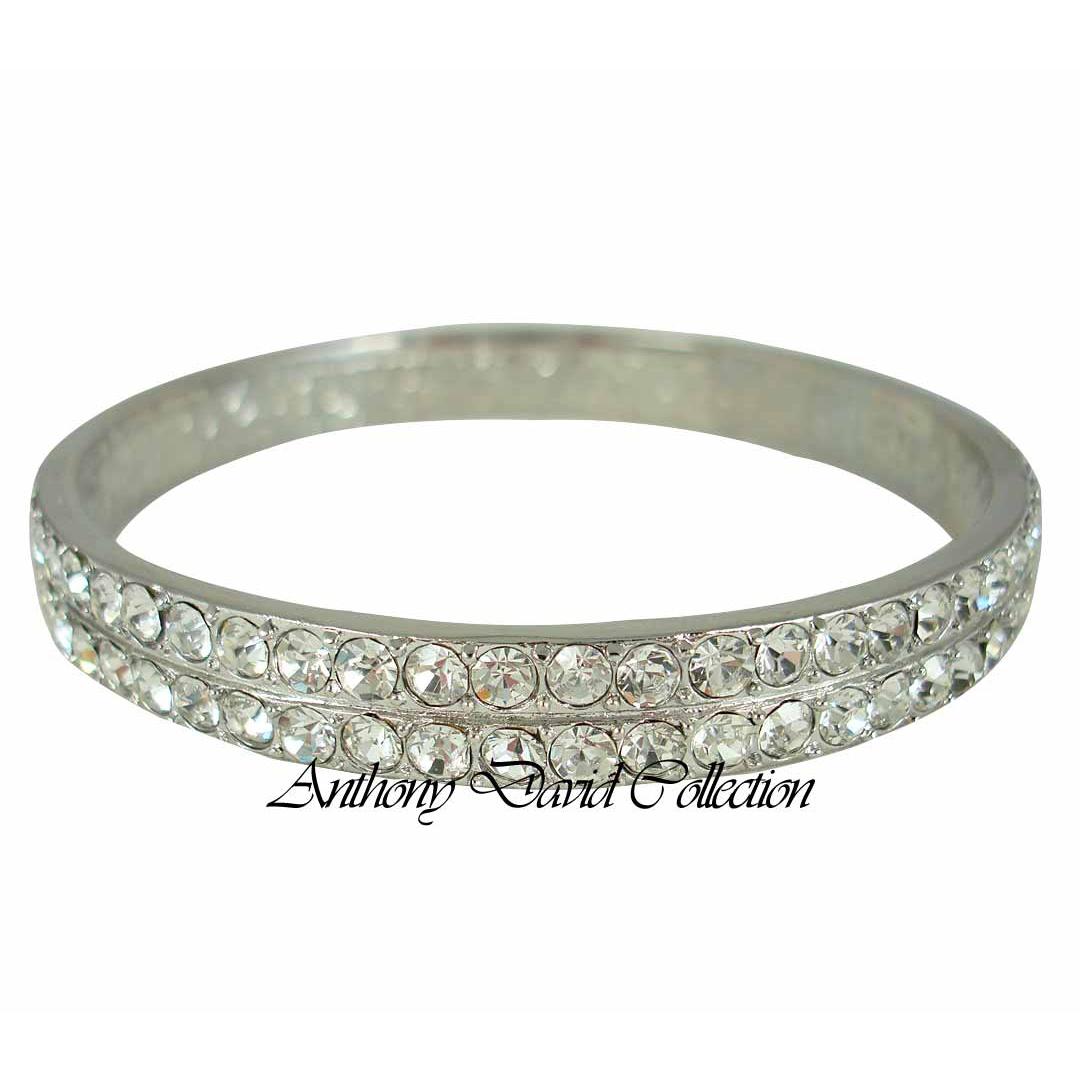 silver bangle bracelet with swarovski crystals kenzie. Black Bedroom Furniture Sets. Home Design Ideas