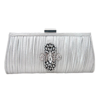 Pleated Silver Rhinestone Evening Bag