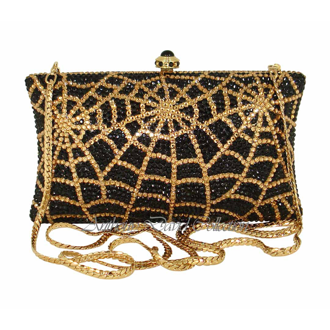 Black Amp Gold Spider Web Crystal Clutch Purse With