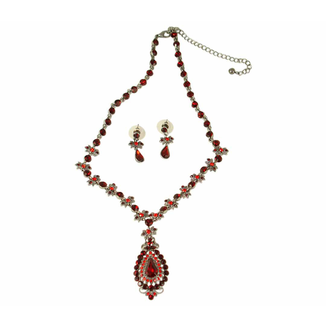 Vintage Style Necklace Set With Swarovski Crystals Ruby Red