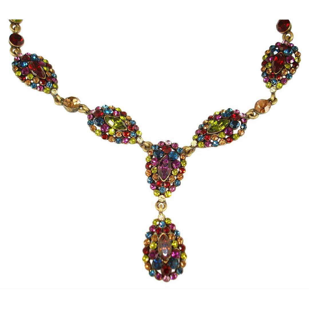 Vintage Style Necklace Set With Swarovski Crystals Multi