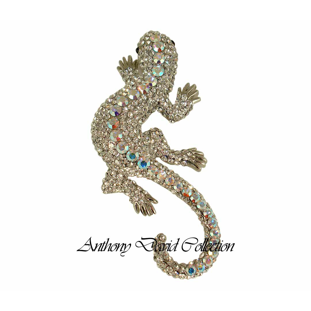 Anthony David Brooch Pin With Swarovski Crystal Silver Gecko