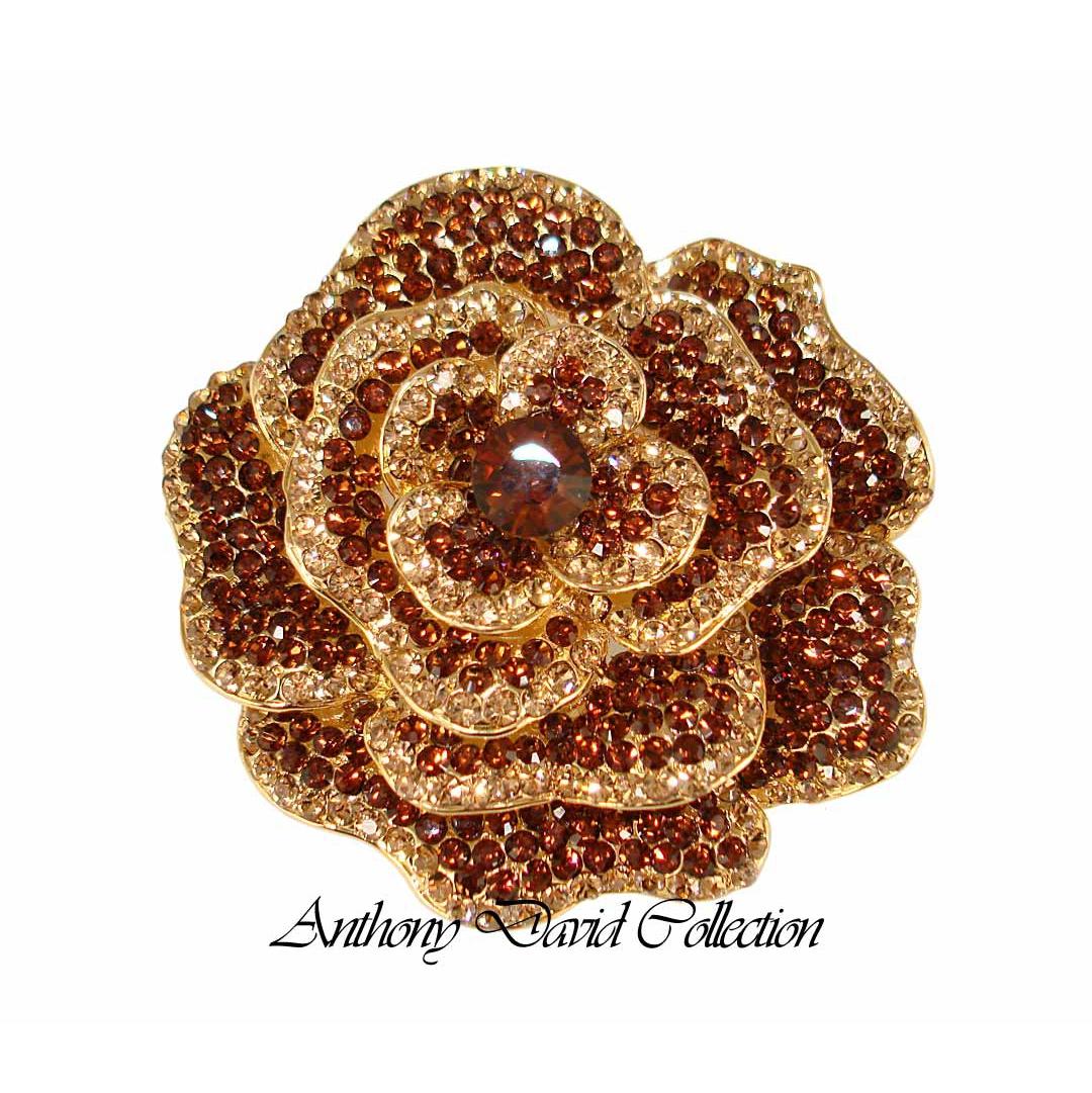 Anthony David Brooch Pin With Swarovski Crystal Bronze Rose