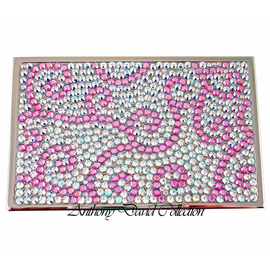 Anthony David Business Card Case with Swarovski Crystal - AB Pink Scroll