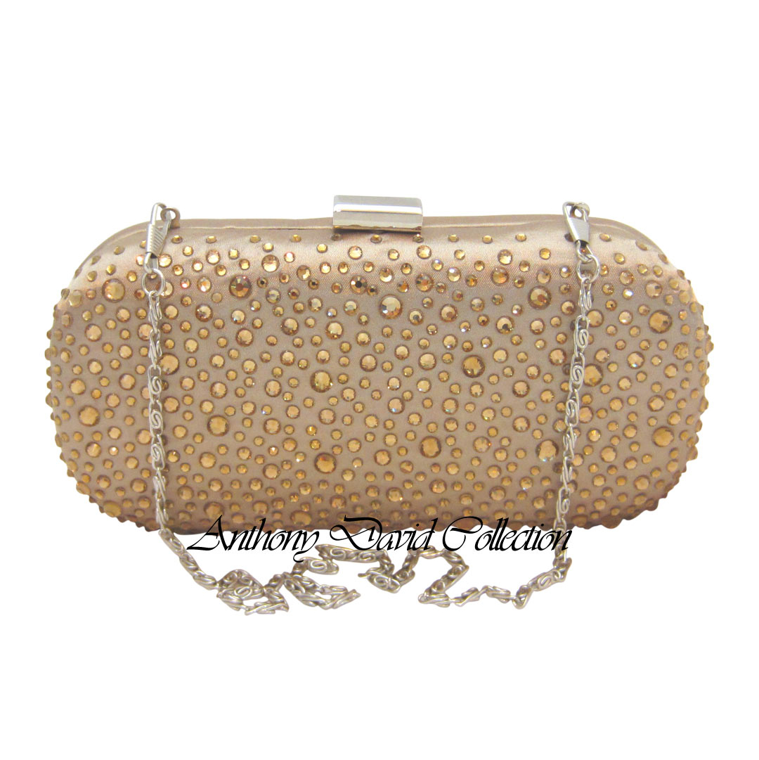 892b6a34dd Champagne Gold Satin Crystal Clutch Evening Purse