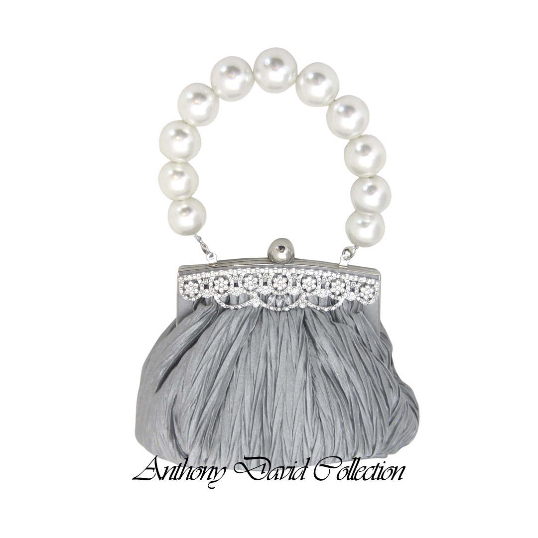 Silver Gray Satin Evening Bag Purse With Large Pearl Bead