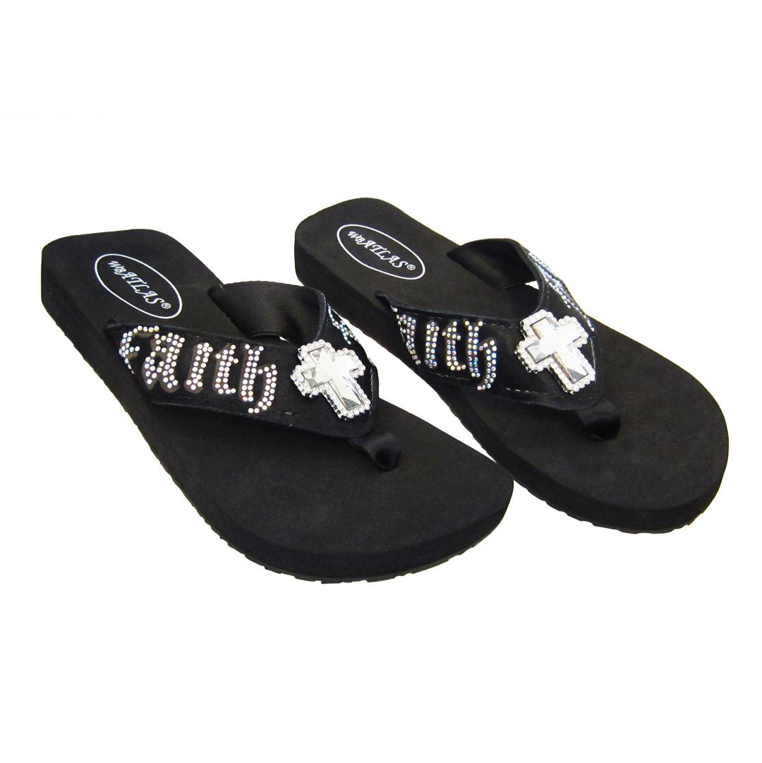 Crystal Flip Flop Sandals - Faith