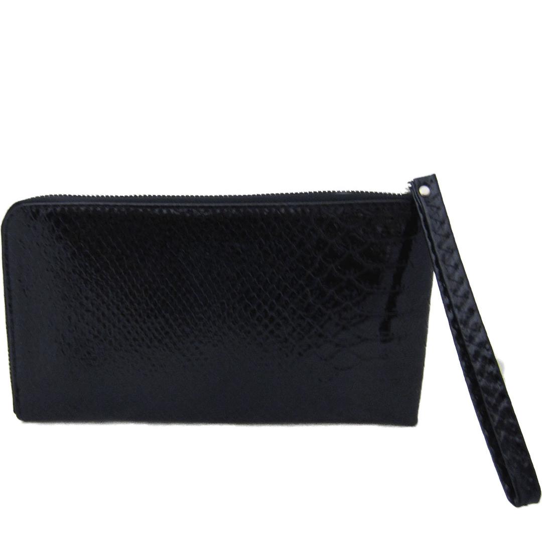 Faux Croc Leather Sling Bag Black Wristlet Wallet
