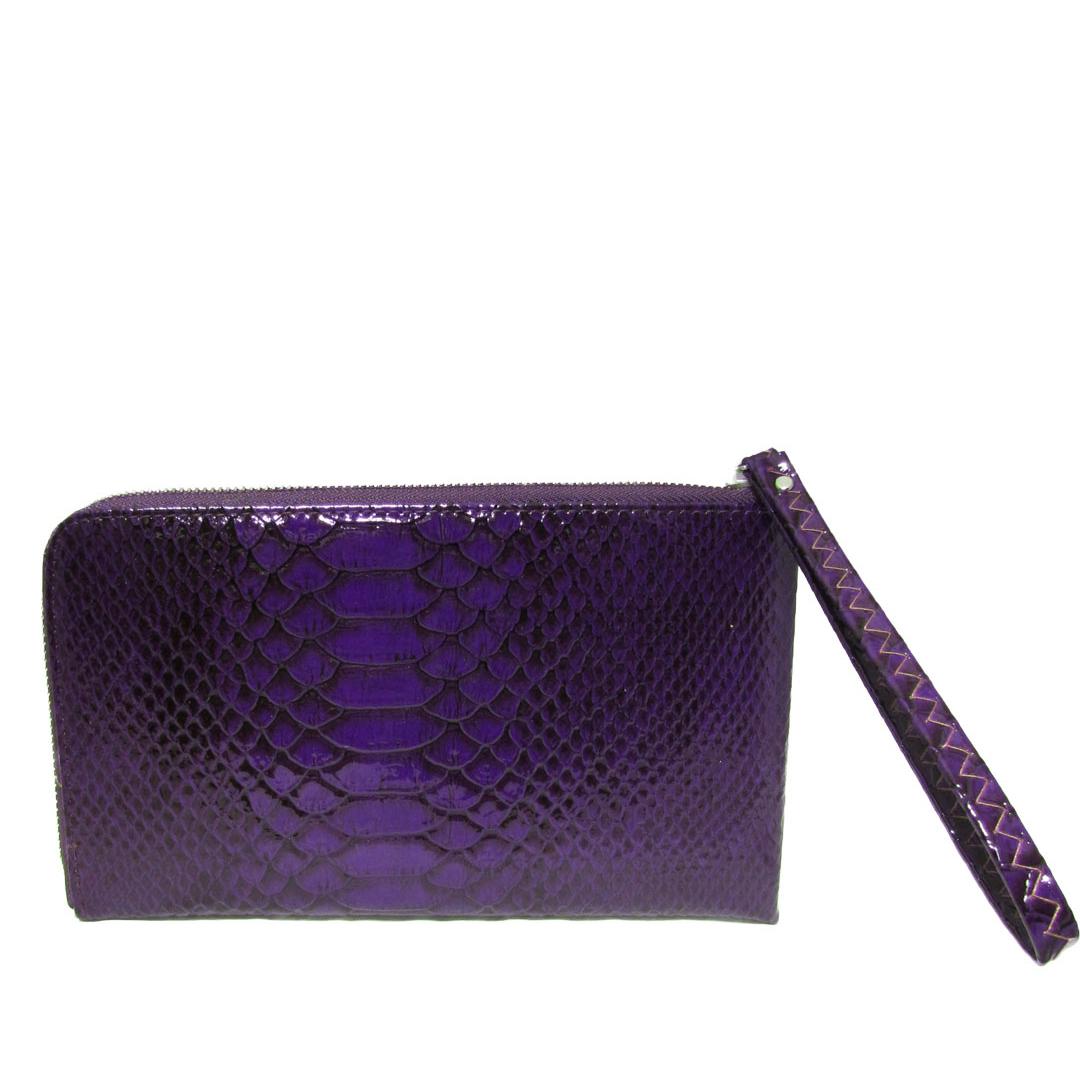 Faux Croc Leather Sling Bag Purple Wristlet Wallet