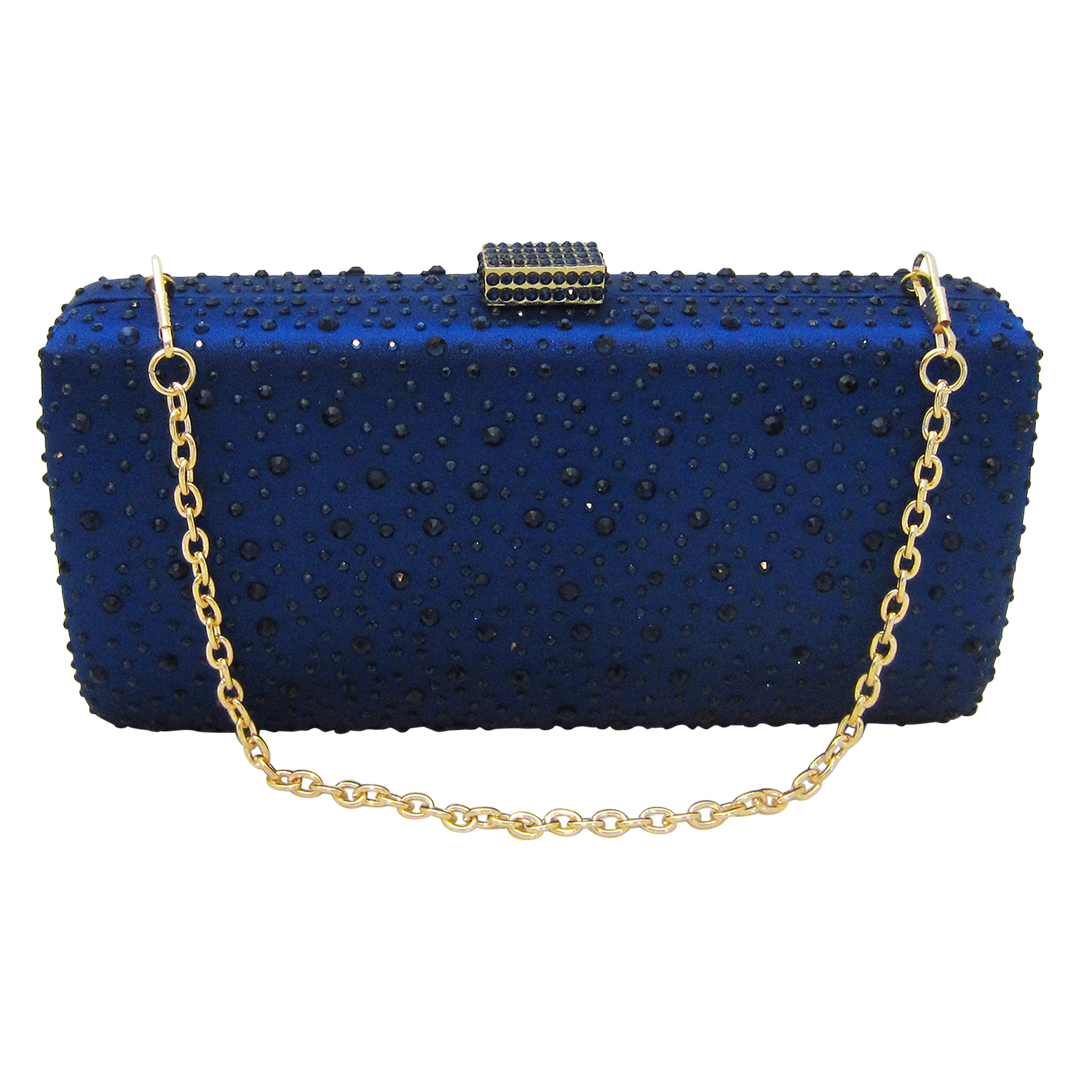 Anthony David Satin Crystal Clutch Purse - Navy Blue