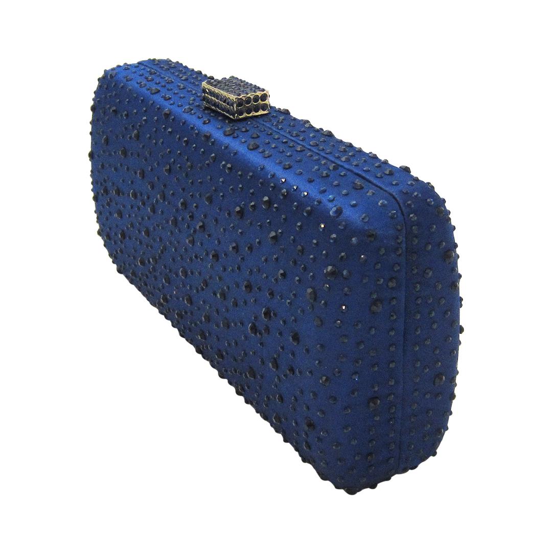 Anthony David Satin Crystal Clutch Purse Navy Blue