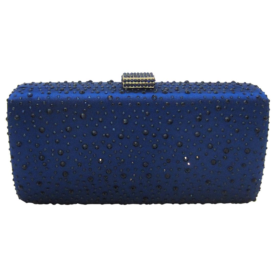 c5140ce0e34 Anthony David Satin Crystal Clutch Purse - Navy Blue