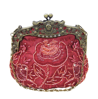 Vintage Style Dark Red Beaded Purse