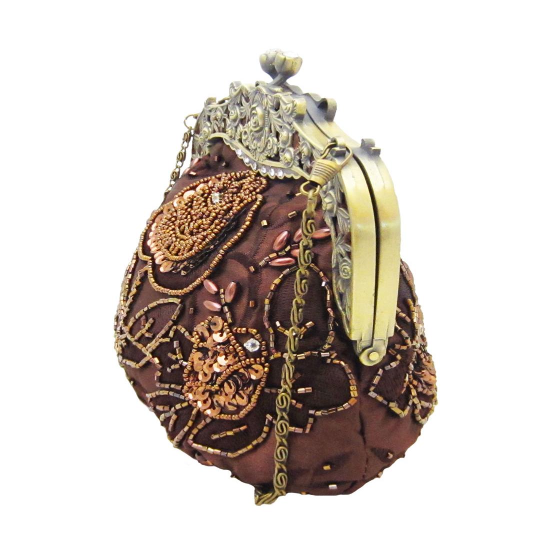 Vintage Style Bronze Beaded Handbag