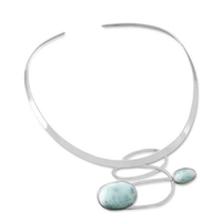 Ornate Larimar Semi-Precious Stone Collar Necklace