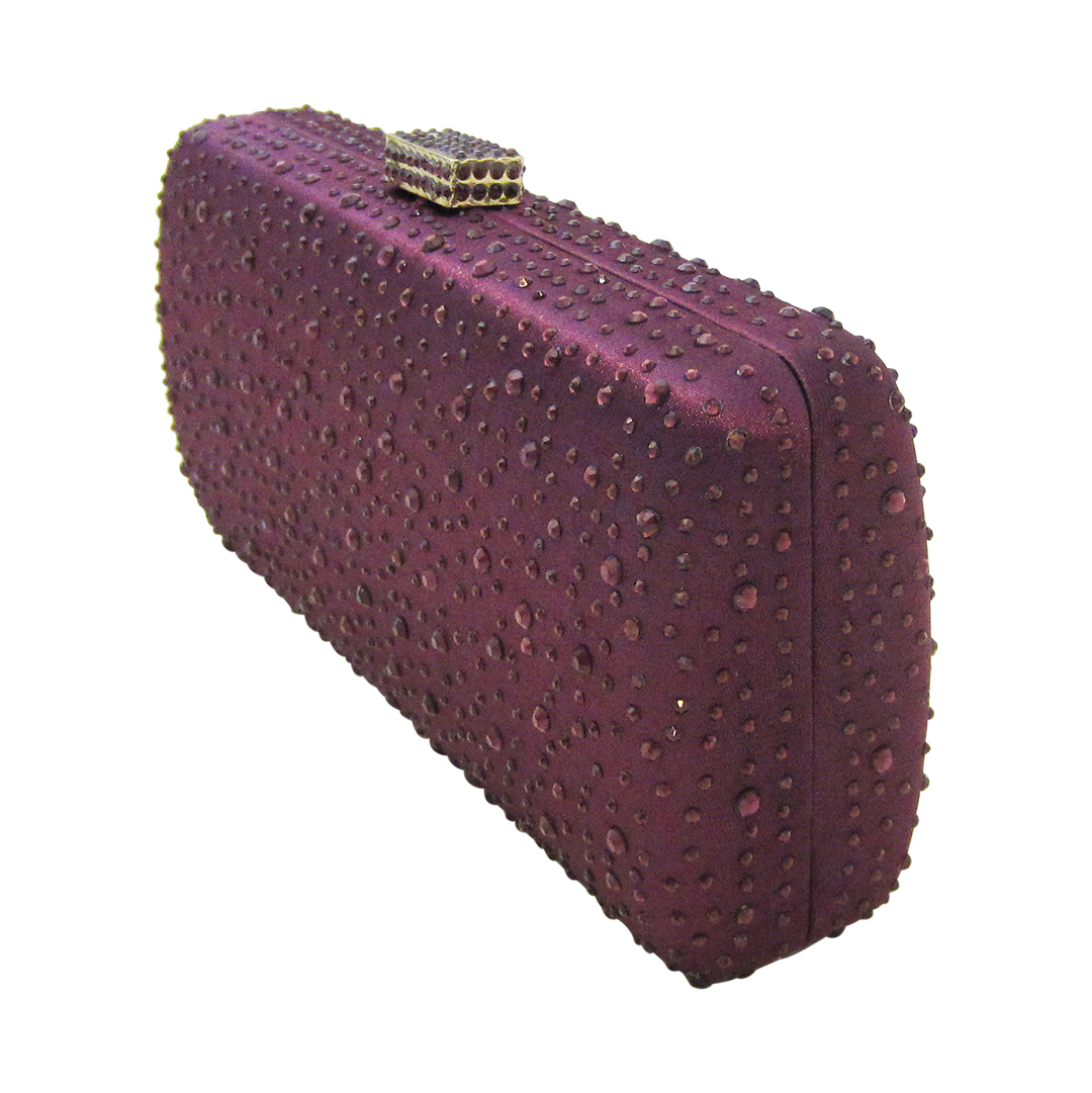 Anthony David Satin Crystal Clutch Purse Purple