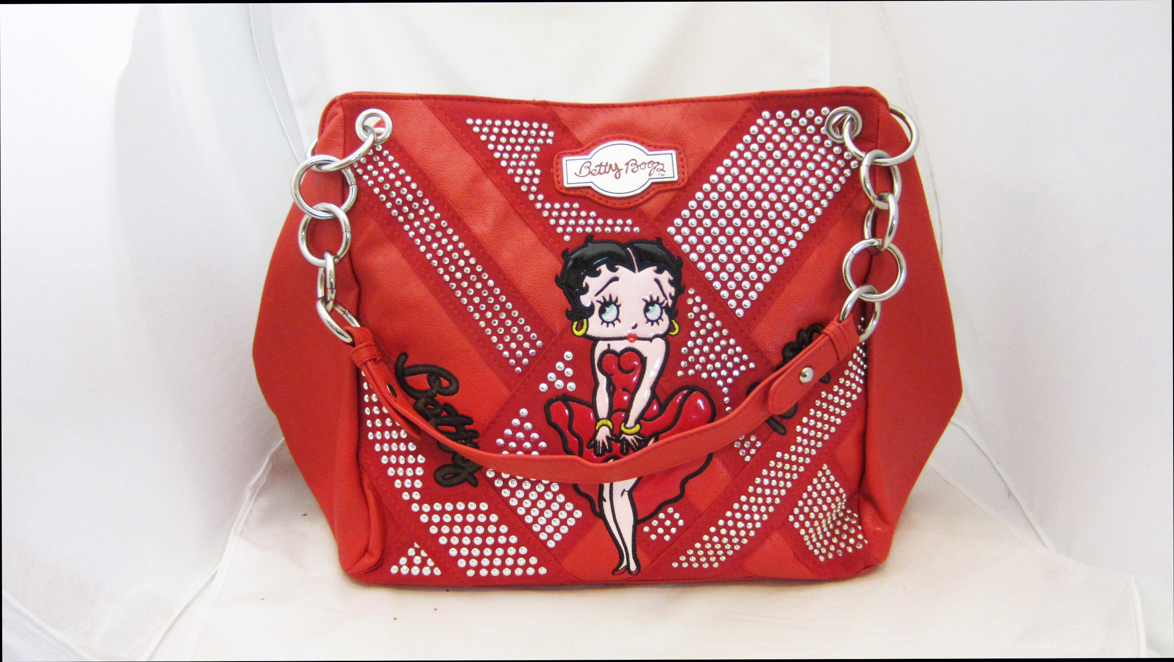 69ef03c396 Betty Boop Leather Chain Handle Purse - Red
