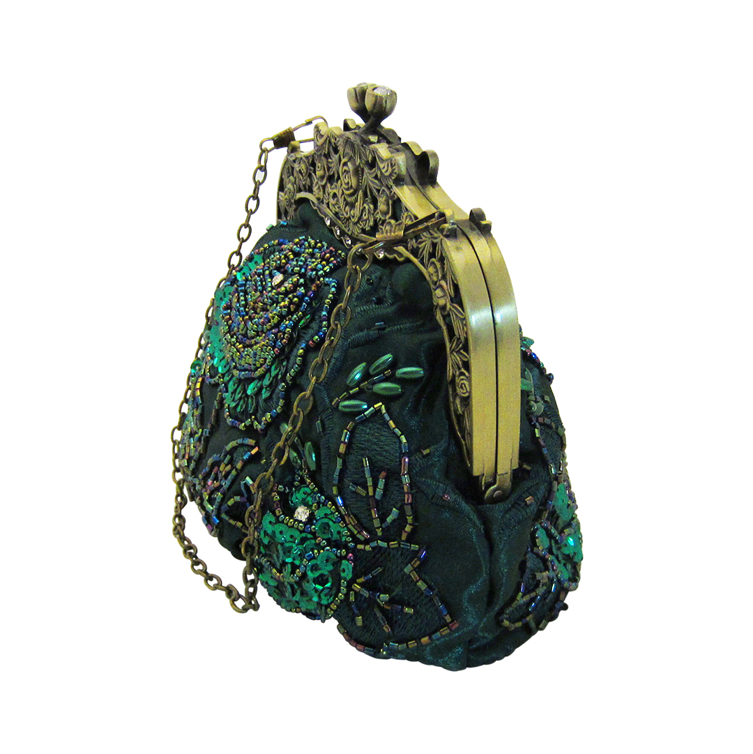 Vintage Style Beaded Handbag Dark Green