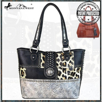 Montana West Black Leopard Shoulder Purse
