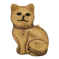 Anthony David Crystal Handbag - Gold Cat