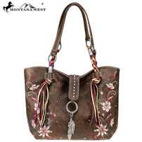 Montana West Brown Leather Tote Purse
