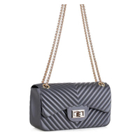 Chevron Embossed Jelly Purse - Pewter Gray